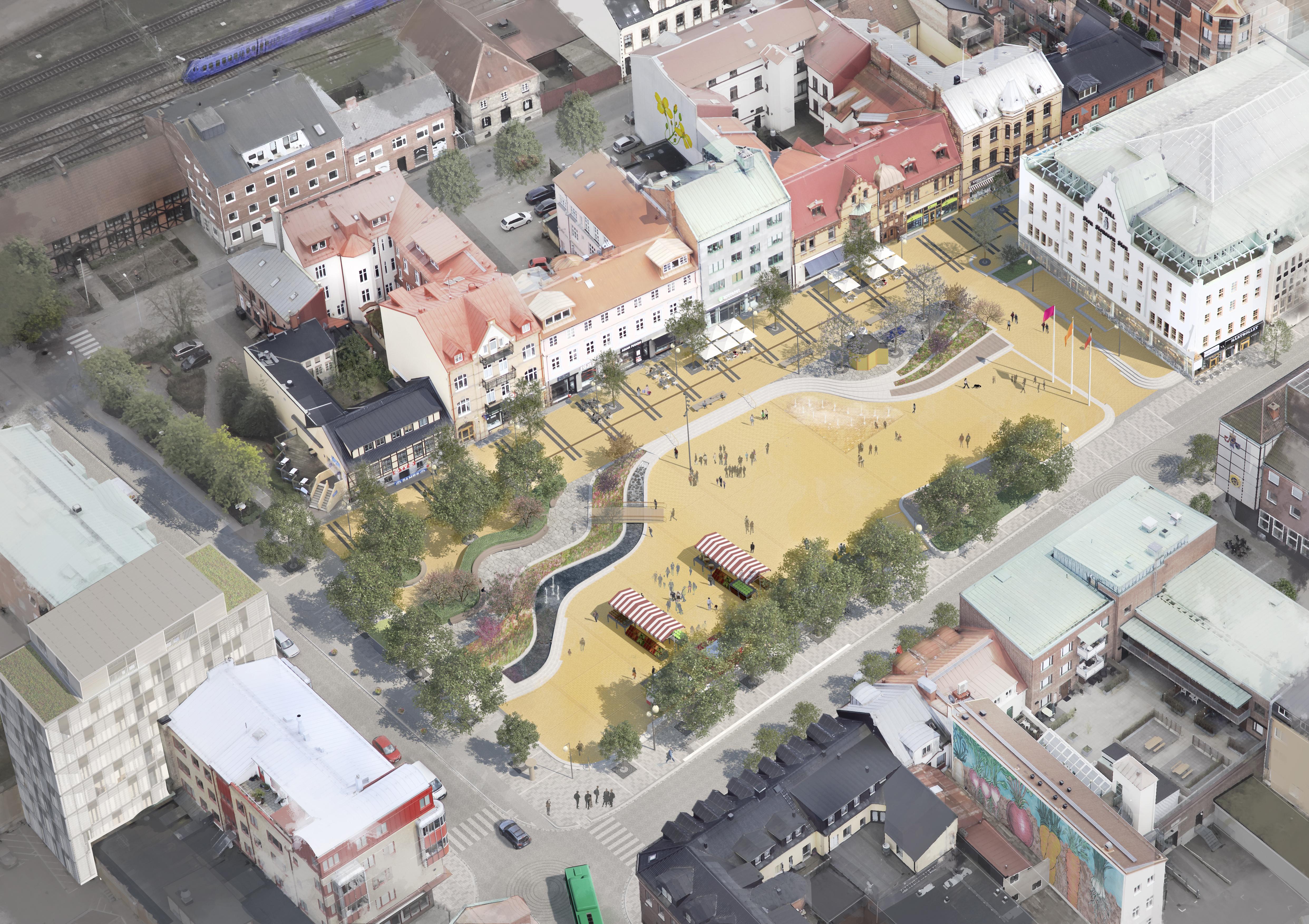 Illustration av framtidens Stora torg i Eslöv