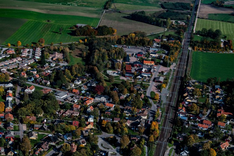 Flygfoto över Stehag