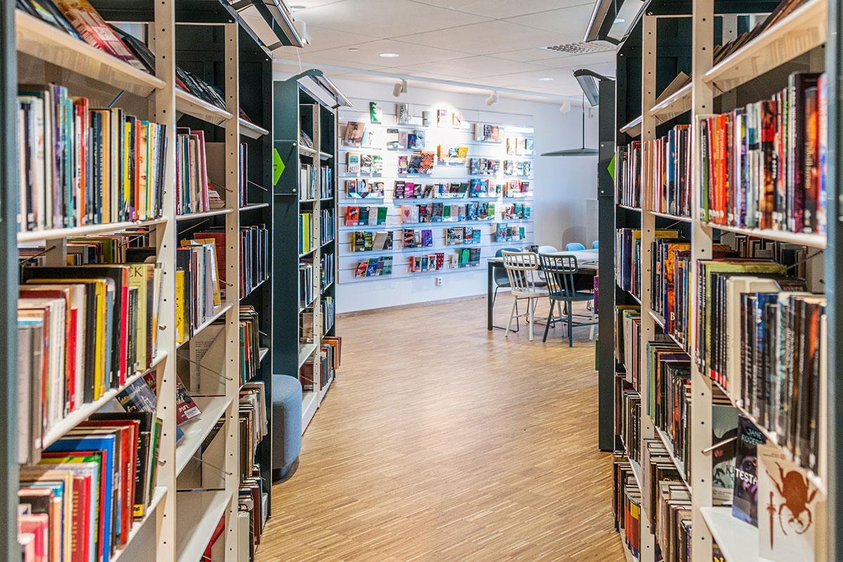 Foto på hyllor fulla med böcker inne på Carl Engström-skolans bibliotek