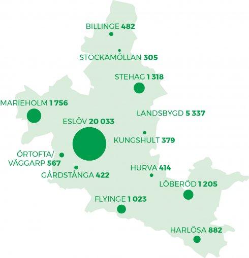 Det totala invånarantalet i Eslövs kommun för 2020 var 34 123.