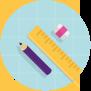 Illustration över penna, linjal och sudd