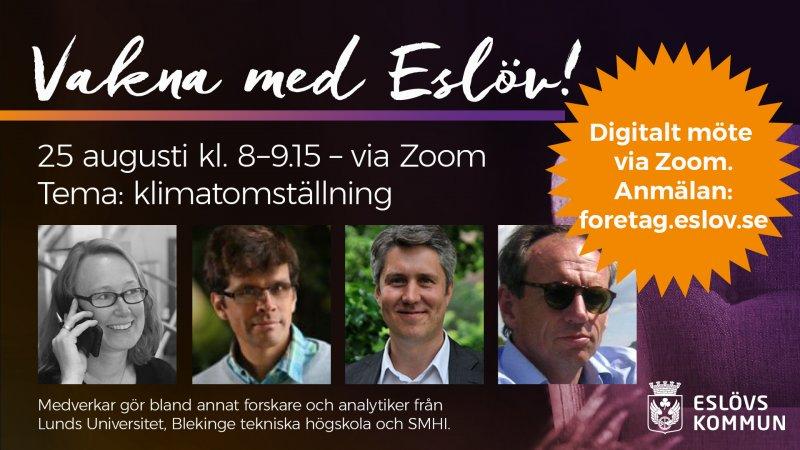Vakna med Eslöv – digital näringslivsfrukost med fokus på klimatomställning 25 augusti kl. 8–9.15