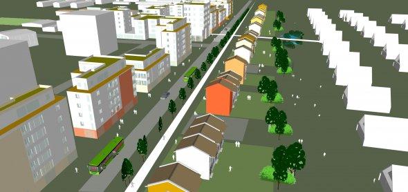 Illustration över ny tänkt bebyggelse längs med Sallerupsvägen med vy mot väst.