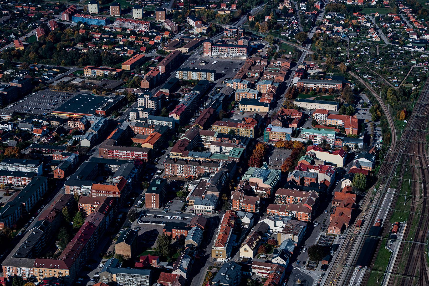 Flygbild över Eslövs centrum