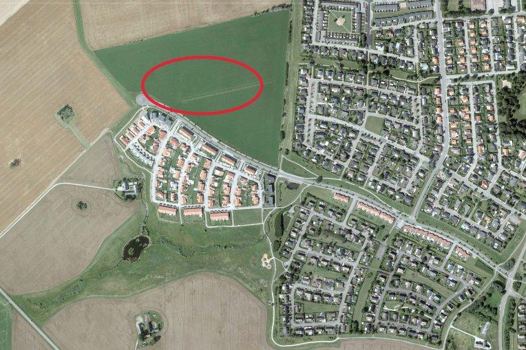 Flygfoto över Långåkra, där etapp-1 är markerat.