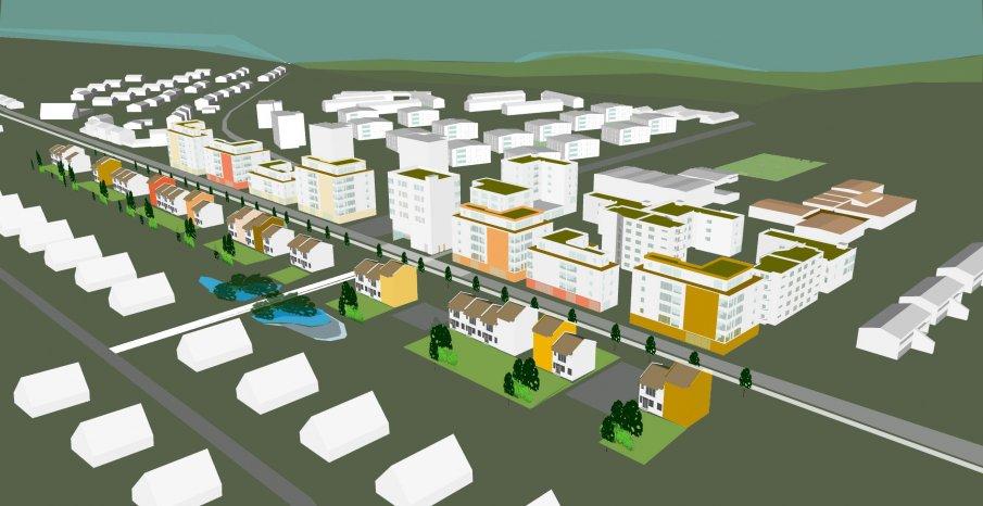Illustration över ny tänkt bebyggelse längs med Sallerupsvägen med vy mot sydost.