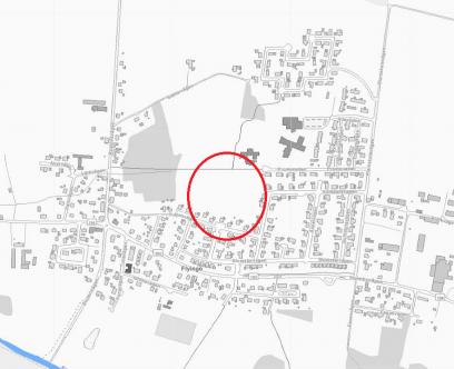 Orienteringskarta för planområdet. Planområdet är beläget inom röd heldragen cirkel.