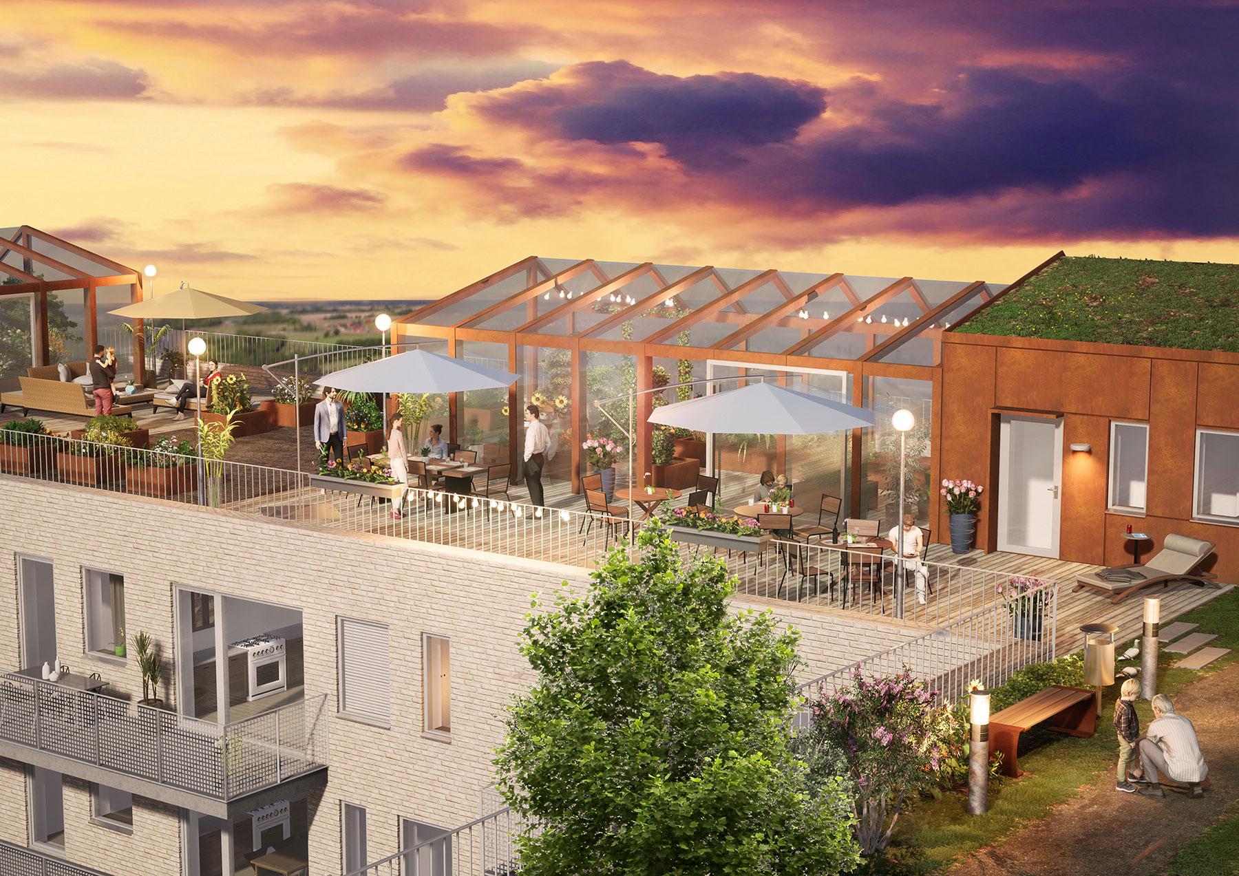 På taket blir det terrass, odlingar och växthus