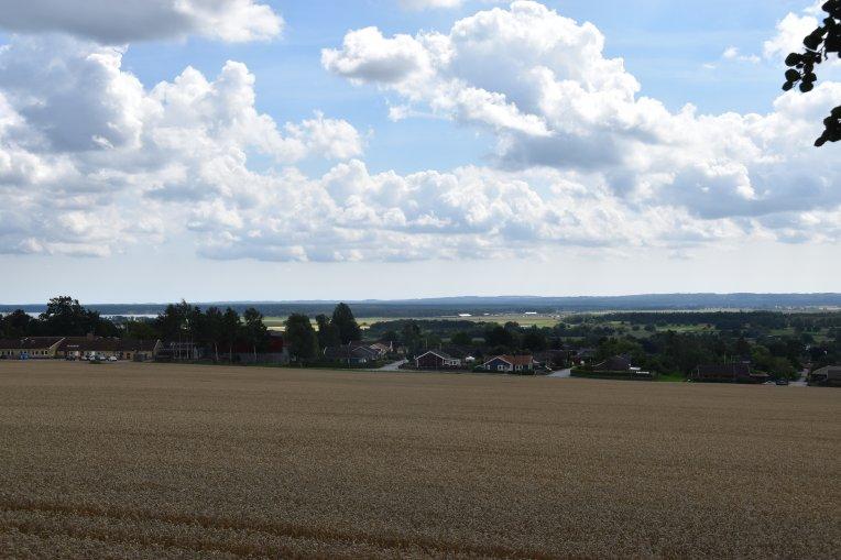 Vy över delar av Harlösa från Harlösa kyrka
