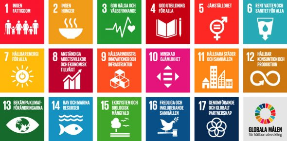 De sjutton globala målen för hållbar utveckling. Illustration: Regeringskansliet/FN