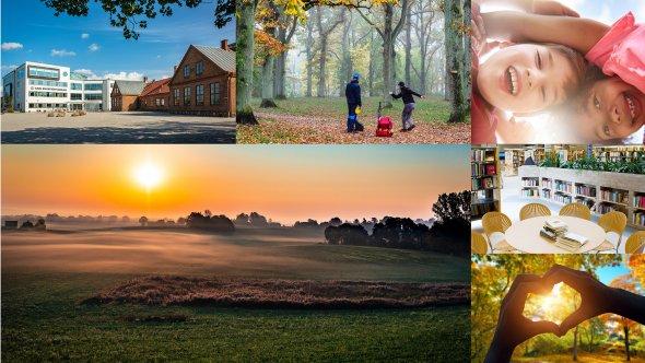 Sex olika bilder från Eslövs kommun. Överst från vänster: Carl Engströmskolan, man och kvinna spelar frisbee i Trollsjön under hösten, två glada barn tittar neråt. Nederst från vänster: soluppgång på landet, stolar runt ett bord på bibliotek, två händer som formar ett hjärta med en sol i hjärtat.