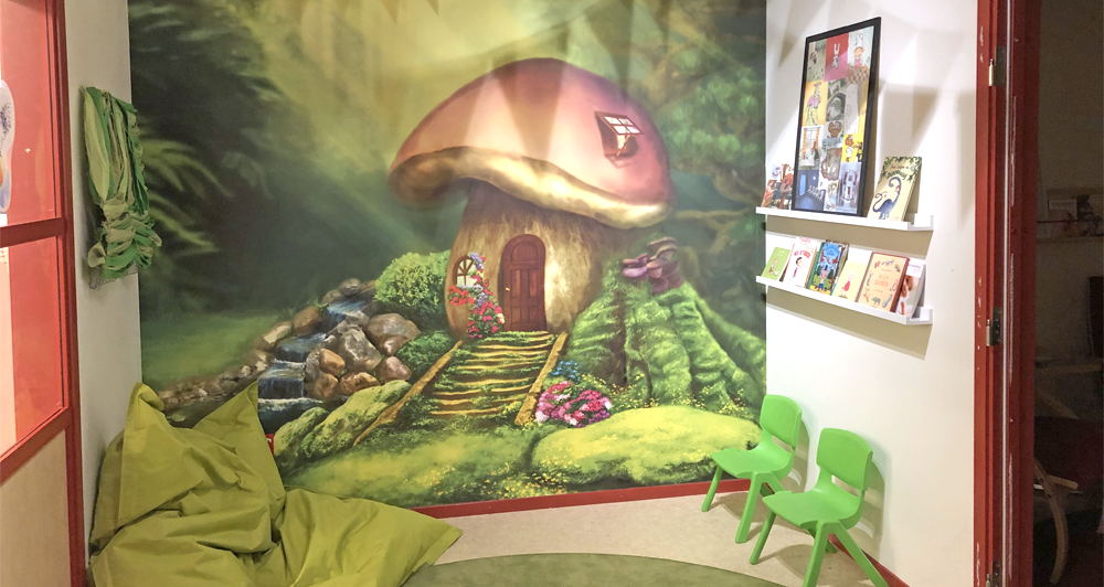 Bild på ett av rummen i den öppna förskolan.