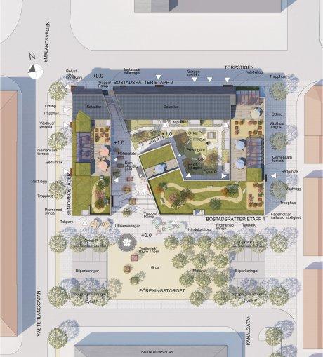 Situationsplan över den nya bebyggelsen på Föreningstorget. Ombyggnaden av torget, som kommunen är huvudman för, är planerad att genomföras efter att kvartersmarken har färdigställts.