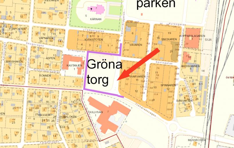 Kartbild som visar omledning av trafik