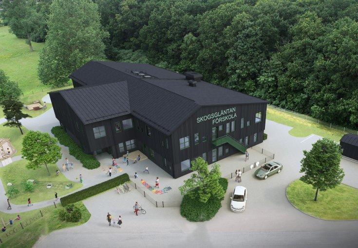 Preliminär skiss över utformningen av nya Skogsgläntan. Illustration: Sweco.