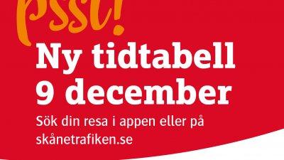 Skånetrafiken inför ny tidtabell 9 december