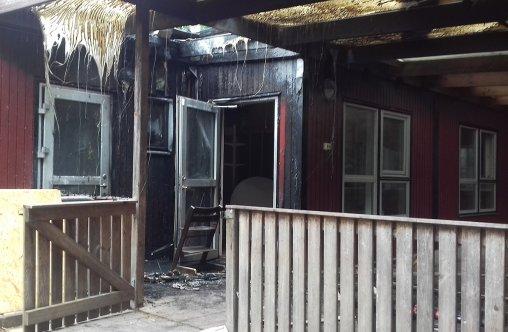 Skador av branden på trollets förskola.