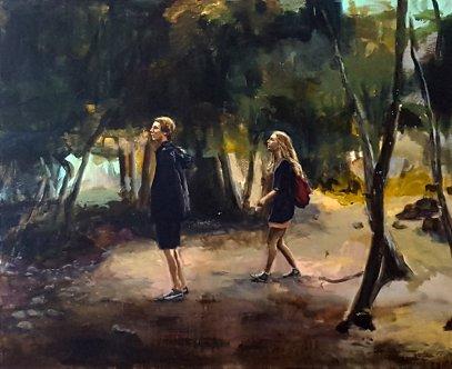 Oljemålning av två personer i en skog.