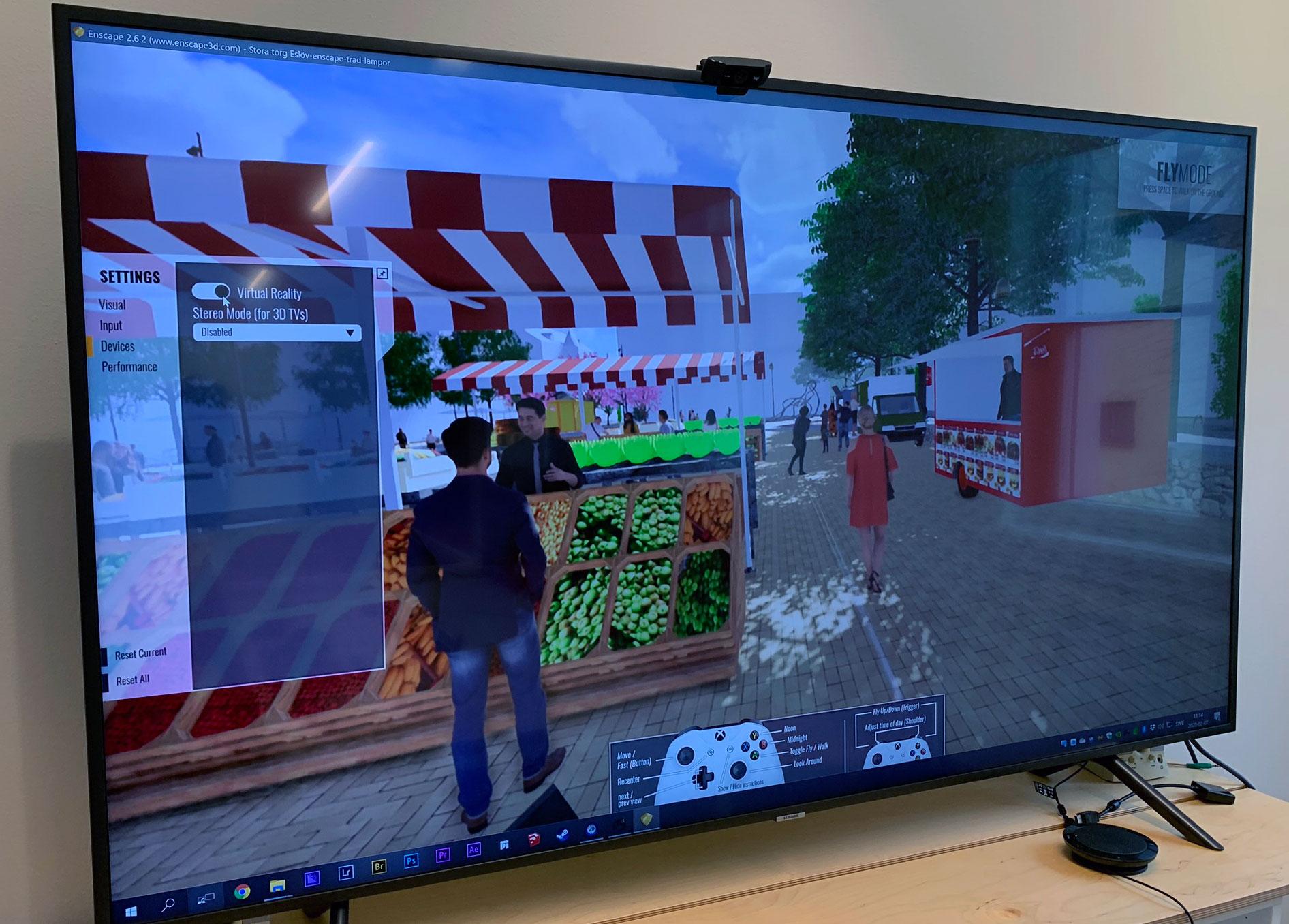 TV-skärm med illustration från Stora torg